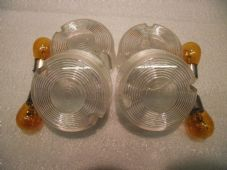 Set of four clear indicator lenses screw on type with bulbs Harley Davidson 07C